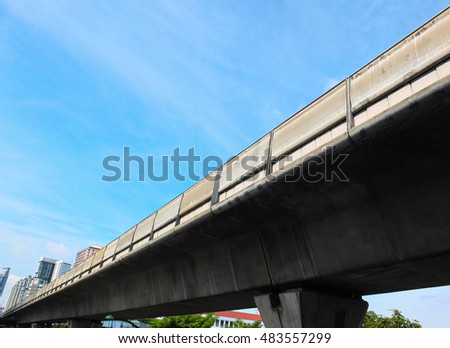 concrete sky train track with blue sky background in bangkok. Thailand