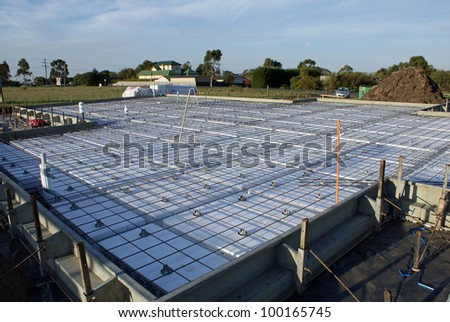 Concrete Slab for house build - stock photo