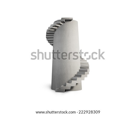concrete spiral staircase tower isolated on white - stock photo