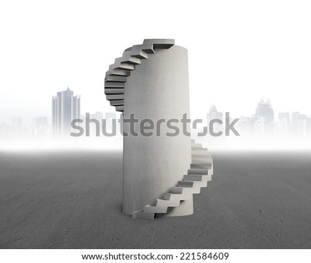 concrete spiral tower on city skyscraper background - stock photo