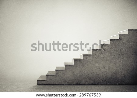 concrete stairs over grey background - stock photo