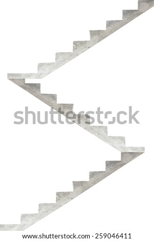 concrete stairway isolated on a white background - stock photo