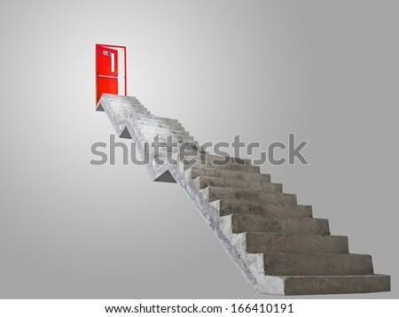 Concrete stairway leading to exit door - stock photo