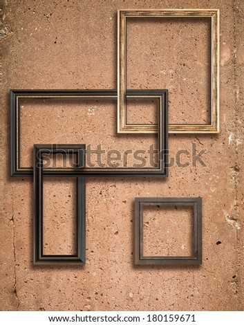 Concrete texture with a lot of details and wooden frames composition - stock photo