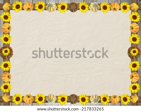 concrete textured background with autumnal frame of sunflowers and pumpkins - stock photo