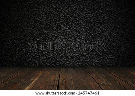 Concrete textured wall with the floor  - stock photo