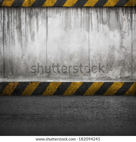 Concrete wall and asphalt. Abstract industrial interior background texture - stock photo