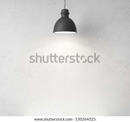 concrete wall and ceiling lamps - stock photo
