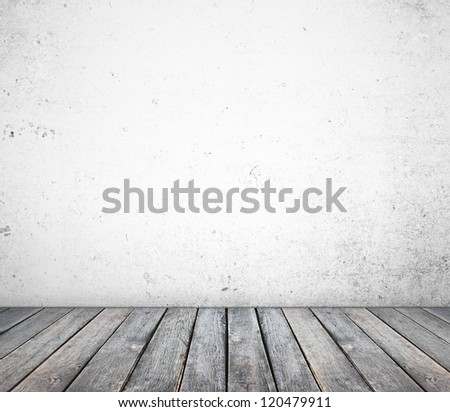 concrete wall and wood floor - stock photo
