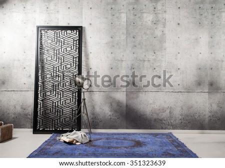 concrete wall interior decor and rug  - stock photo