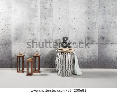 concrete wall interior style with symbol