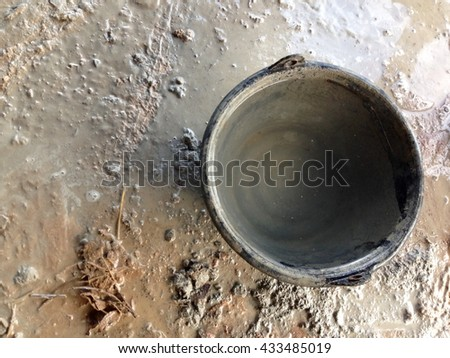 Concrete wall texture. construction Plaster Tool - stock photo