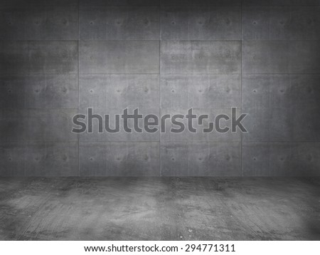 concrete wall with concrete floor,3d  - stock photo