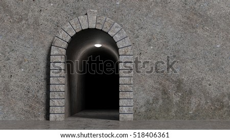 Concrete wall with decorative stone gate and scary corridor darkly lit. Rendered 3d design.