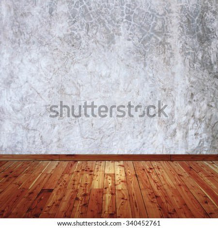 Concrete walls and wood floor for text and background - stock photo