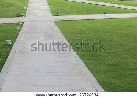 Concrete way on the green glasses