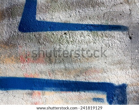 Concrete, weathered, worn, painted blue. Landscape style. Grungy Concrete Surface. Great background or texture. - stock photo
