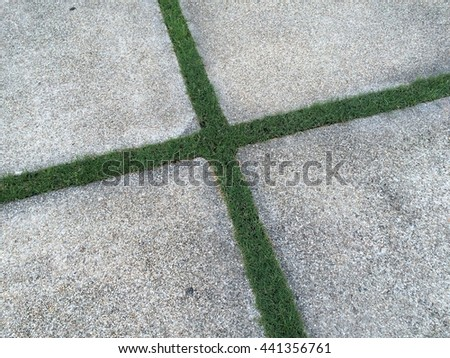 Concrete with grass , ground , cement , grass - stock photo