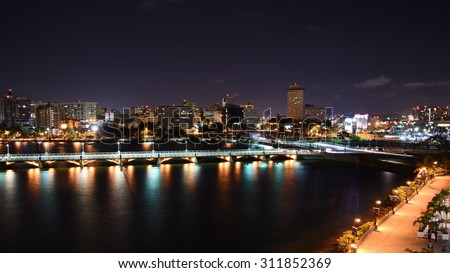Condado Lagoon at night - stock photo