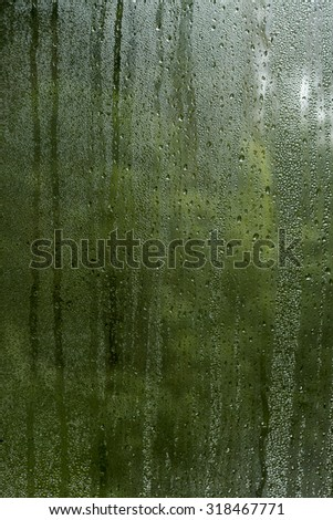 condensation droplets in a window glass, green nature abstract background