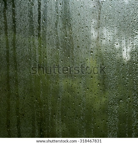 condensation droplets in a window glass, green nature abstract background  - stock photo