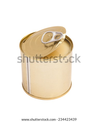 Condensed milk in tin can over white background  - stock photo