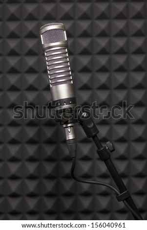 Condenser microphone in recording studio  - stock photo
