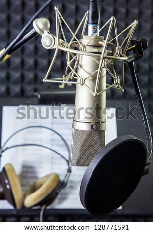 Condenser microphone  in vocal recording room - stock photo