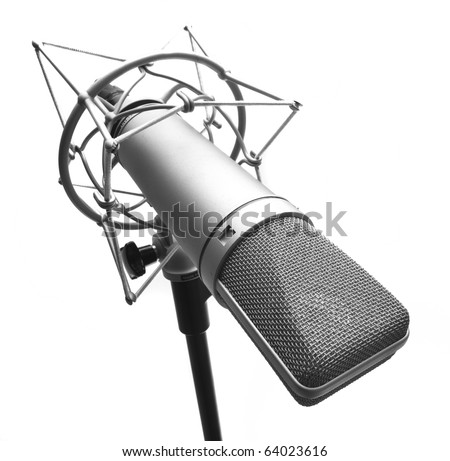 condenser microphone isolated on a white background - stock photo