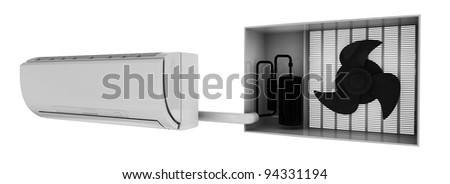 condition system simple scheme, 3d render isolated on white - stock photo