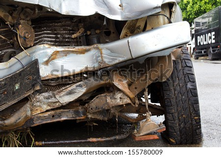 Conditions collapse into the bumper and bonnet car accident collision