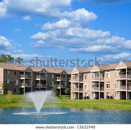 Condo apartment homes overlooking a small lake in Kentucky, USA. - stock photo