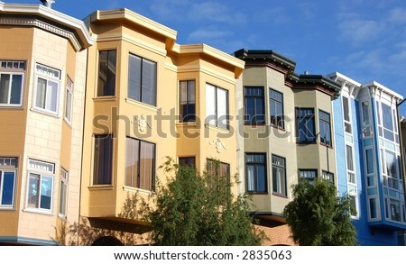 condo style homes in the city of san francisco - stock photo