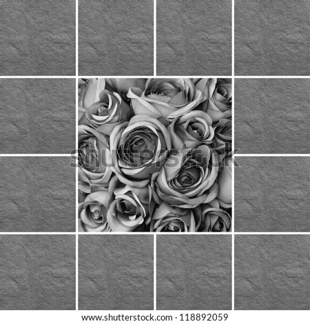 condolence card with black and white roses pattern - stock photo