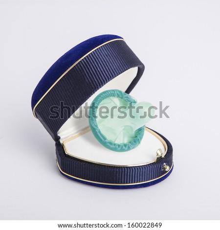 condom in a jewel box - stock photo