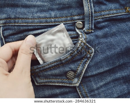 condom in blue jeans pocket,Protect yourself
