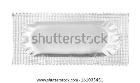 Condom isolated on white background - stock photo