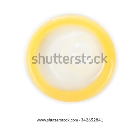 Condom - isolated on white background - stock photo