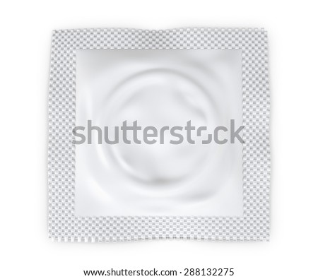 Condom package isolated on white background. Condom package template for your design. 3d illustration.