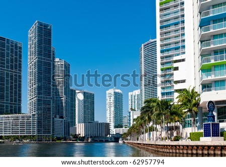 Condominium apartments over the Miami River, Miami. Florida. - stock photo
