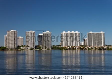 Condominium buildings in Miami, Florida. - stock photo