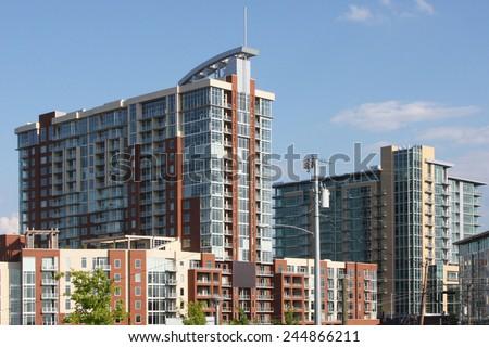 Condominium high rise buildings - stock photo