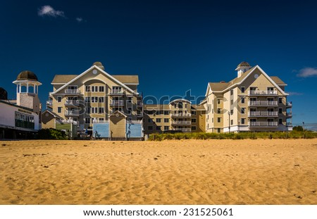 Condominiums along the beach at Old Orchard Beach, Maine. - stock photo