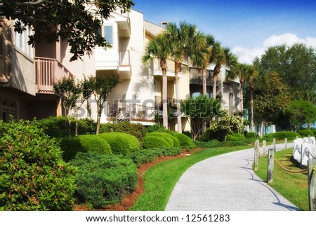 Condominiums along the harbor in Harbour Town, Hilton Head Island, South Carolina. - stock photo