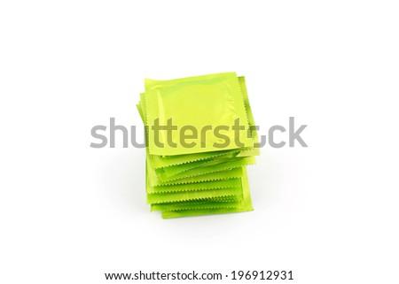 Condoms isolated on white background - stock photo