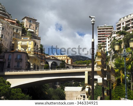 condos hotels houses over valley Monte Carlo Monaco Europe - stock photo