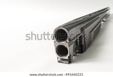 Conducted at our large gun barrel on a white background. - stock photo