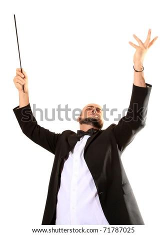 Conductor maestro conducts crescendo - stock photo