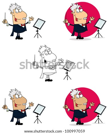 Conductor Man. Raster Illustration.Vector version also available in portfolio. - stock photo