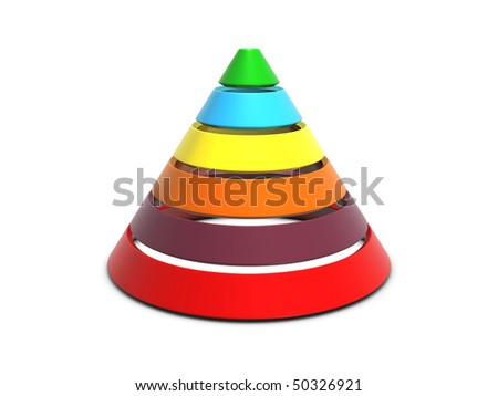 Cone chart multi-color isolated on white background
